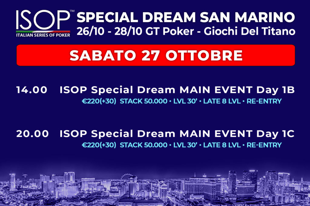 ISOP Special Dream San Marino Sabato 27 ottobre