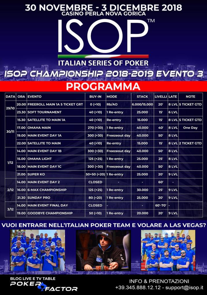 isop championship evento 3 dicembre casino perla locandina satelliti freroll