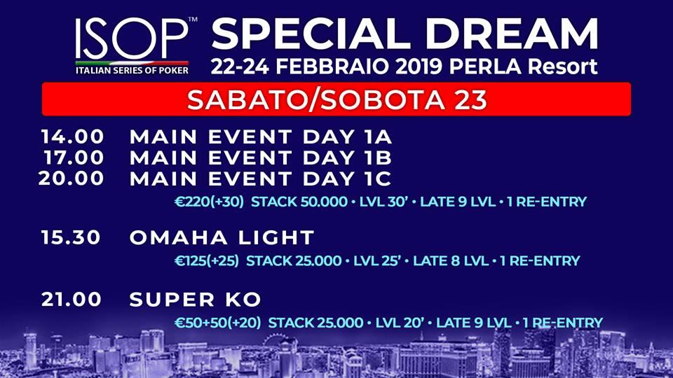 isop special dream sabato 23