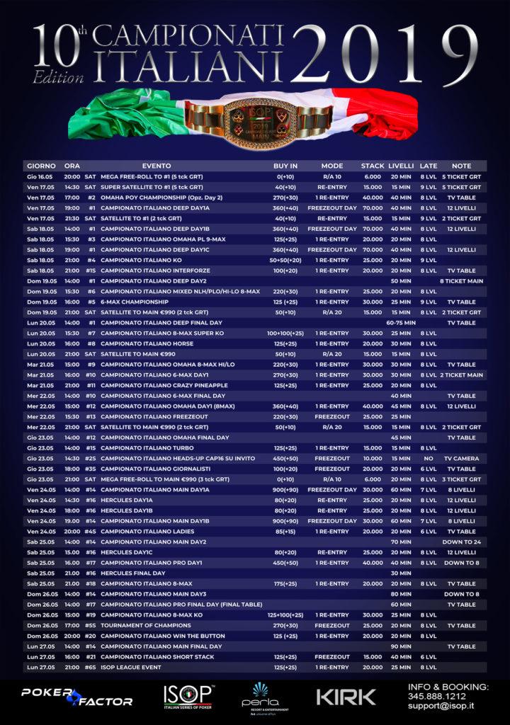 calendario campionati italiani 2019 poker