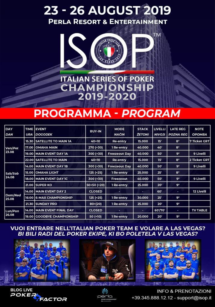 Calendario ISOP Championship 2019-2020 agosto