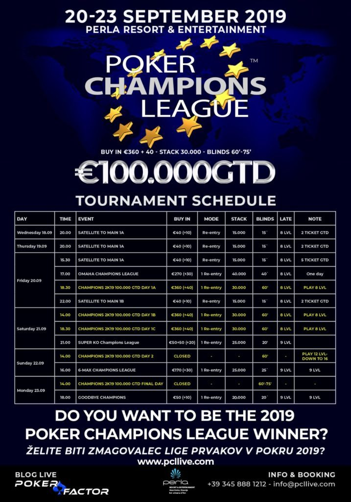 Calendario Della Champions League.Poker Champions League Non Solo Main Event In Calendario